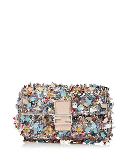 Fendi | Женское Многоцветный Embellished Leather Micro Baguette Shoulder Bag Gr.