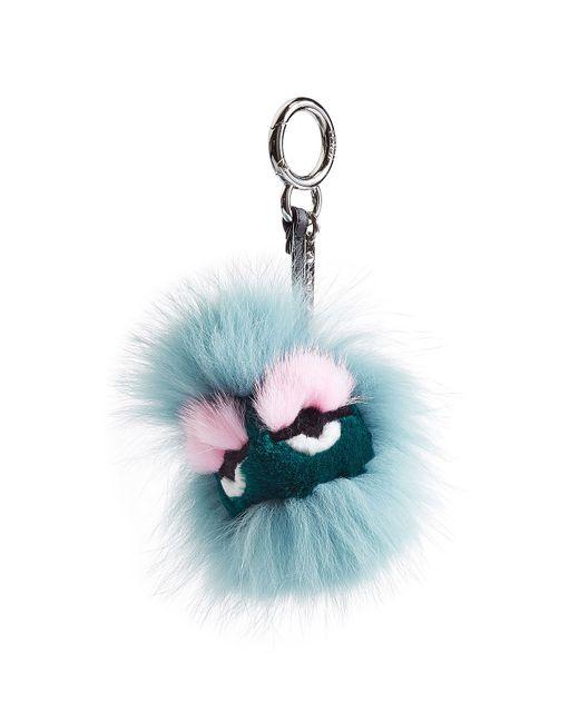 Fendi | Синий Bag-Bug Eyelash Key Chain With Fox Fur