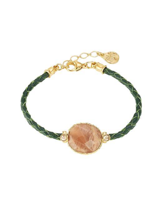 GAS BIJOUX   Женское Зелёный 24kt Gold-Plated Metal And Python Bracelet Gr.