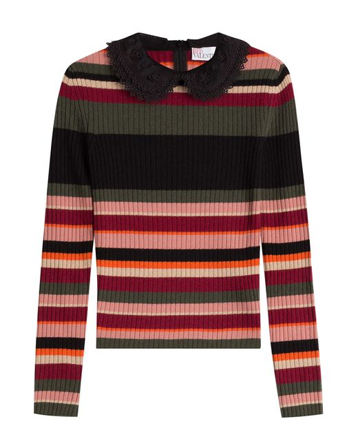 Red Valentino   Женское Многоцветный Striped Knit Top With Round Collar Gr.