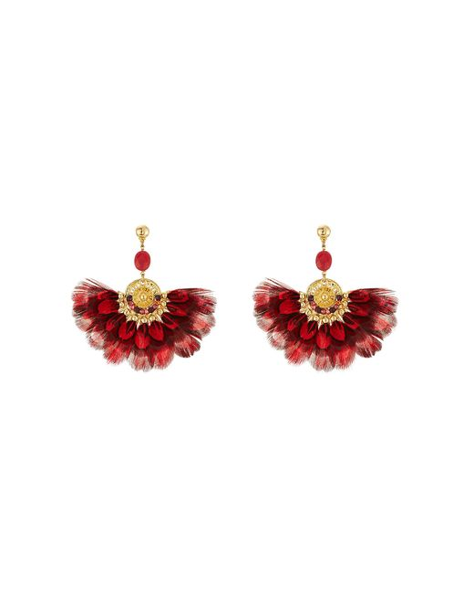 GAS BIJOUX | Женское Красный 24kt Gold Plated Earrings With Feathers Gr.