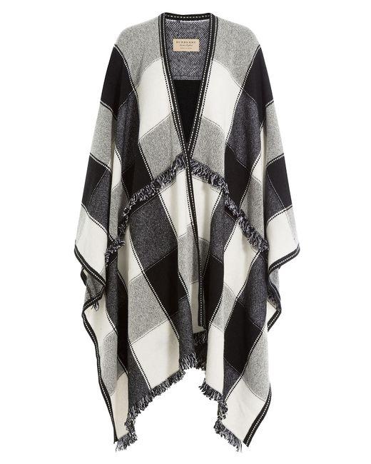 Burberry   Женское Чёрный Printed Wool Blend Cape With Cashmere Gr.