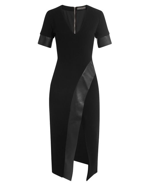 David Koma | Женское Чёрный Wool Dress With Leather Gr. Uk 8