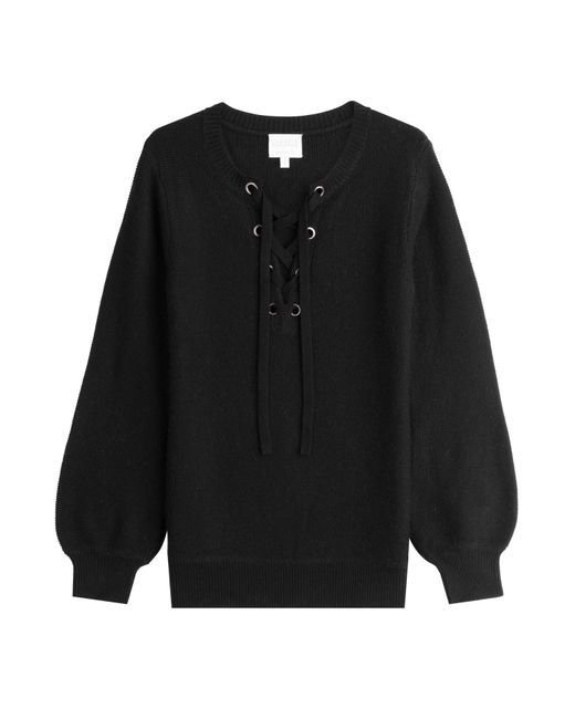 Claudia Schiffer for TSE | Женское Чёрный Wool Pullover With Lace-Up Front Gr. S