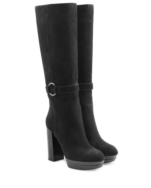 Hogan | Женское Чёрный Suede High Heel Boots Gr. It 36