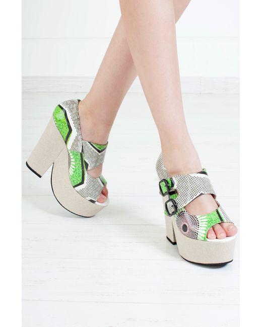 Carven | Женские Зелёные Кожаные Туфли