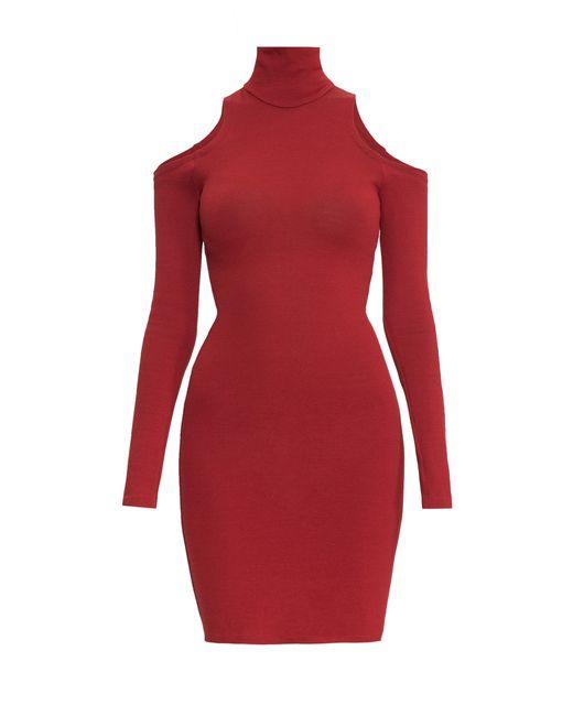 Balmain | Женское Красное Трикотажное Платье Sf-150233