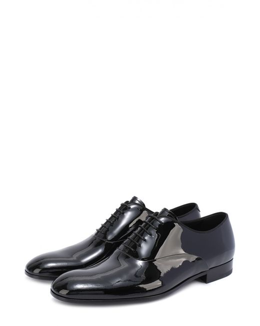 Giorgio Armani | Мужские Чёрные Классические Оксфорды Из Лаковой Кожи