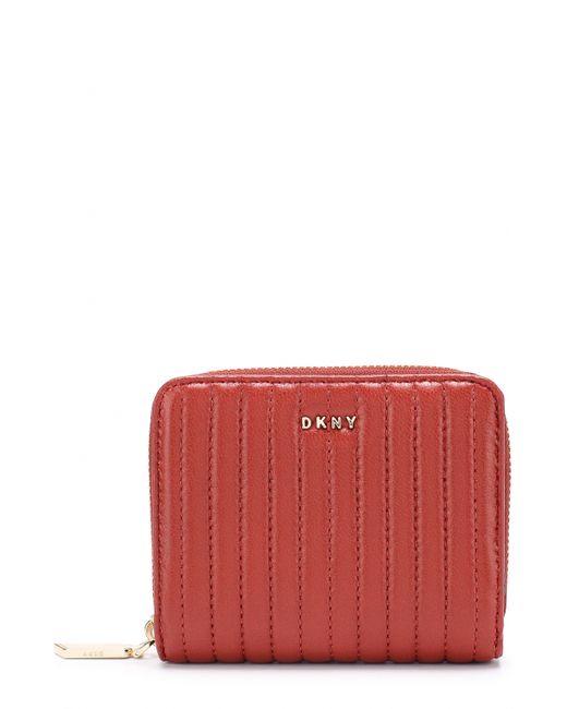 DKNY   Женское Красное Портмоне Из Стеганой Кожи На Молнии
