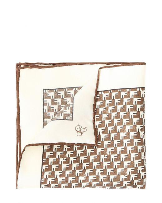 Canali   Коричневый Шелковый Платок С Принтом