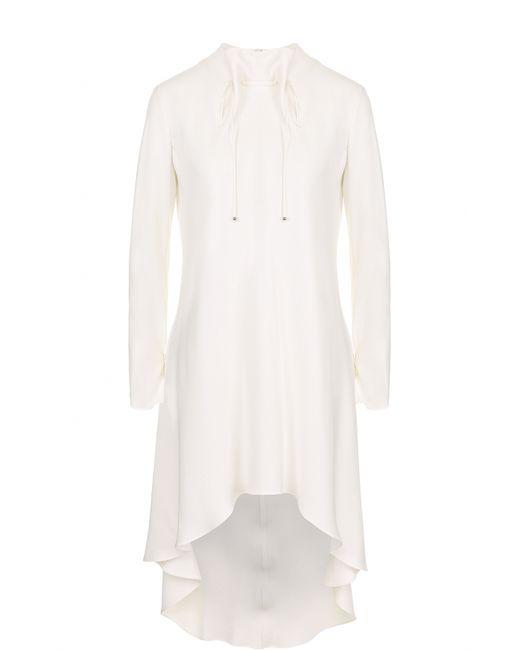 Giorgio Armani | Женская Белая Приталенная Шелковая Блуза С Удлиненной Спинкой