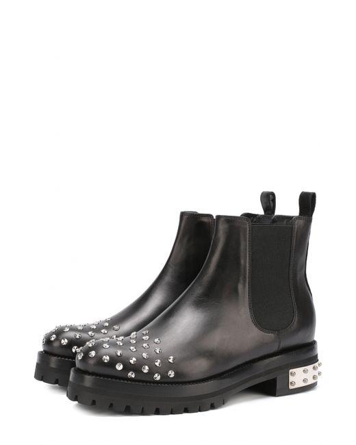Alexander McQueen | Женские Чёрные Кожаные Ботинки С Заклепками