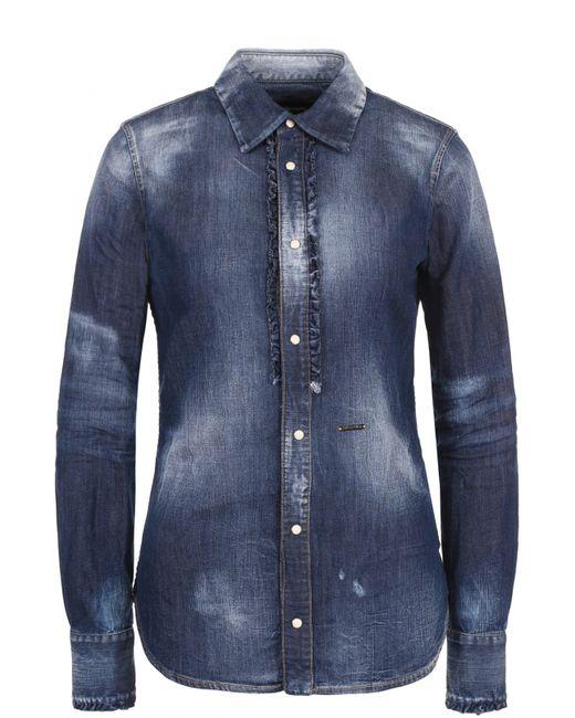 Dsquared2   Женская Синяя Приталенная Джинсовая Блуза С Потертостями