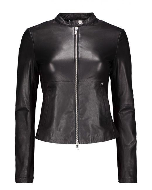 ARMANI JEANS | Женская Чёрная Куртка Кожаная