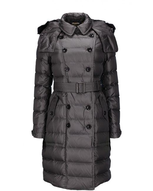 Burberry Brit   Женское Серое Пальто С Капюшоном И Поясом