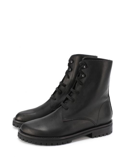 Ann Demeulemeester | Женские Чёрные Кожаные Ботинки На Шнуровке