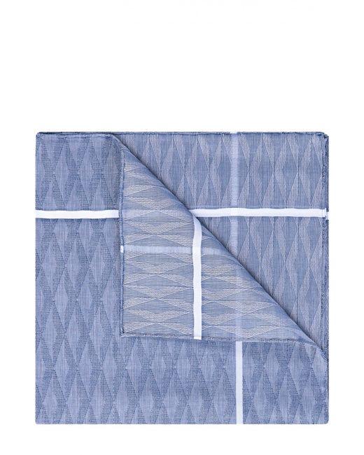 Simonnot-Godard | Голубой Хлопковый Платок С Узором И Контрастным Кантом