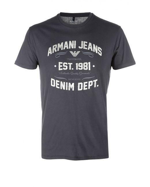 ARMANI JEANS | Мужская Синяя Футболка Джерси