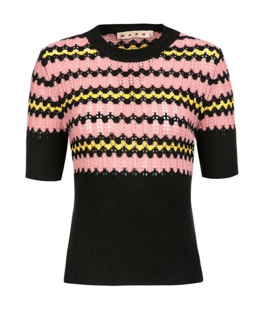 Marni | Женский Чёрный Приталенный Пуловер С Коротким Рукавом И Разрезами