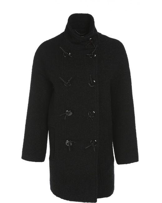 Kenzo | Женское Чёрное Пальто Прямого Кроя