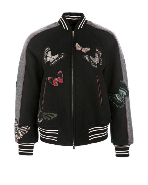 Valentino   Женская Чёрная Куртка-Бомбер С Вышивкой Бисером