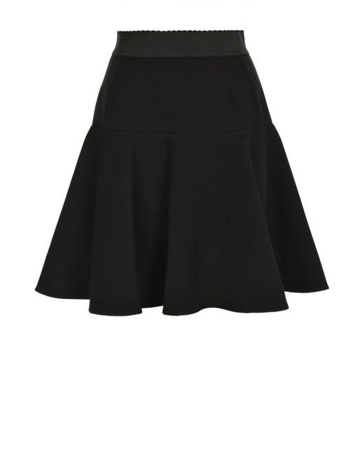 Dolce & Gabbana   Женская Чёрная Расклешенная Юбка С Эластичным Поясом