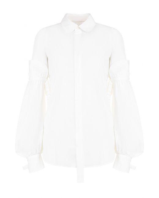 Dsquared2 | Женская Белая Хлопковая Блуза С Декорированными Рукавами