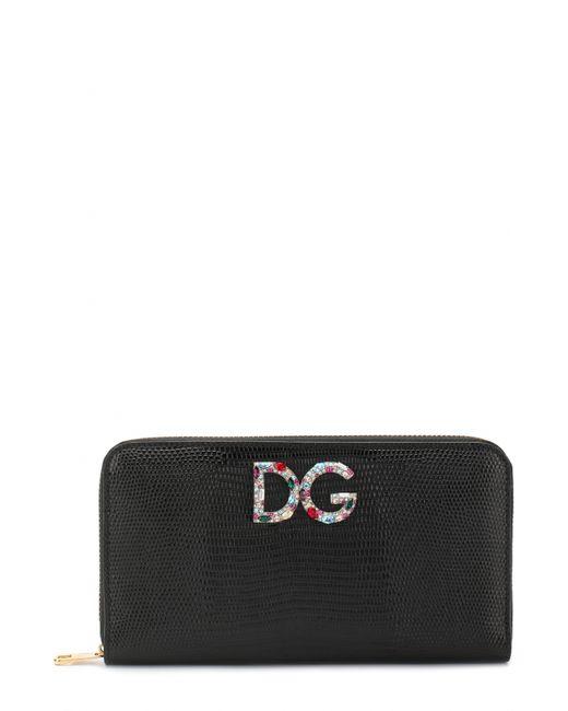 Dolce & Gabbana | Женское Голубое Кожаное Портмоне На Молнии