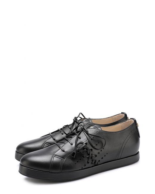 Giorgio Armani   Женские Чёрные Кожаные Ботинки На Шнуровке