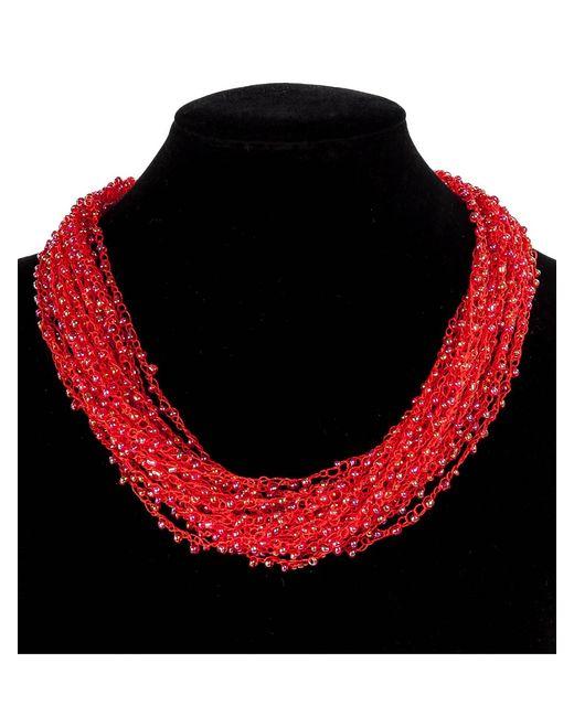 Art East | Женское Красное Колье Из Бисера Вуаль