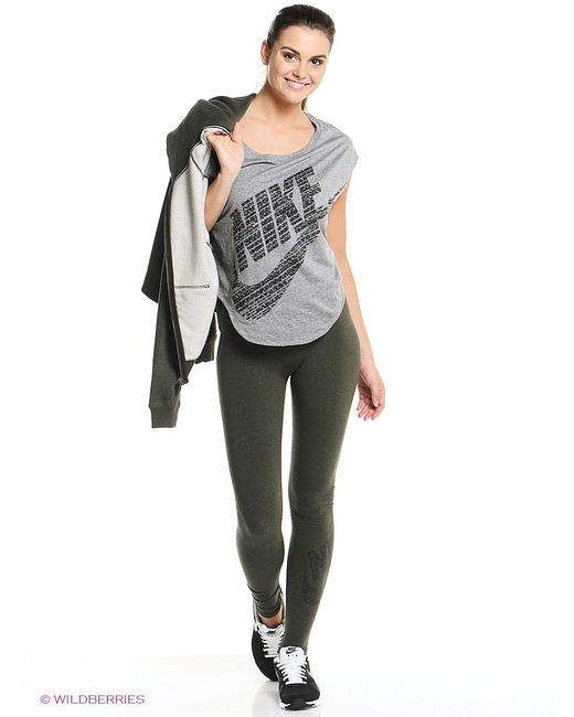 Nike   Женские Зелёные Леггинсы