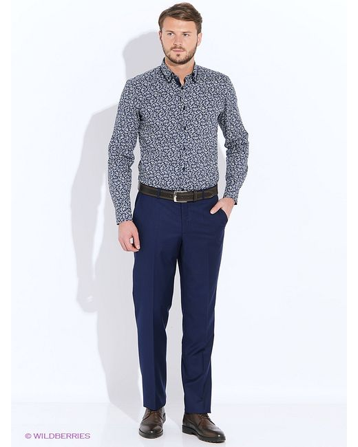 Hans Grubber | Мужские Синие Рубашки