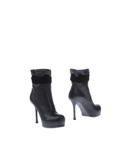 Ysl  Rive Gauche   Женские Чёрные Полусапоги И Высокие Ботинки