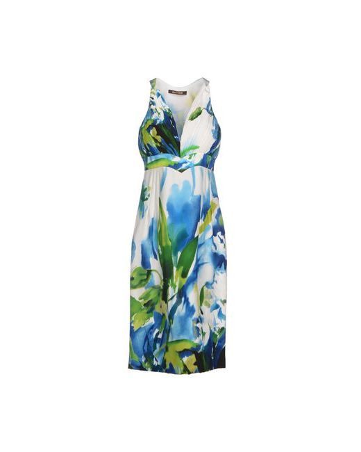 Roberto Cavalli | Женское Синее Платье До Колена