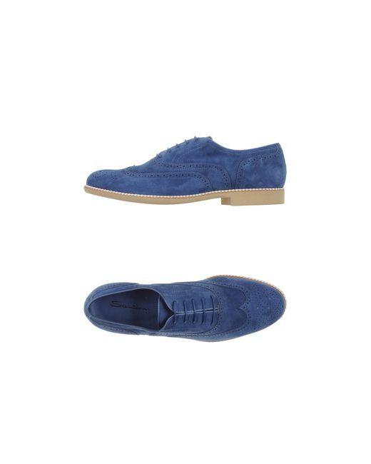 Santoni   Женская Синяя Обувь На Шнурках