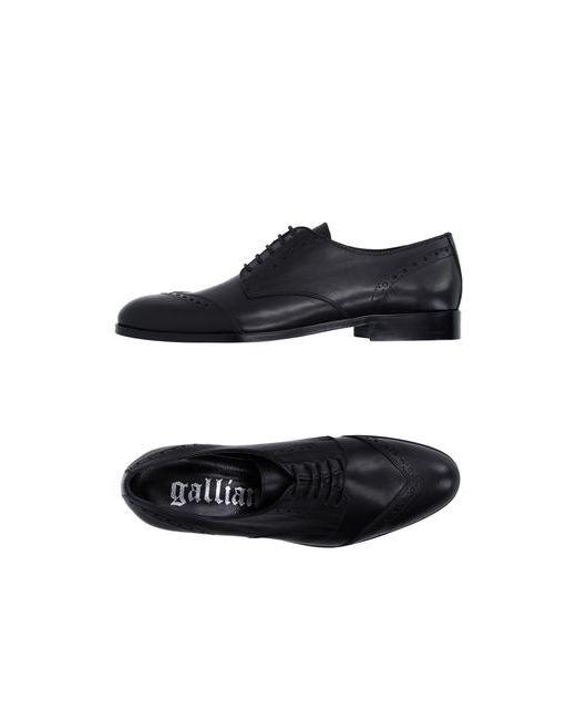 Galliano   Мужская Чёрная Обувь На Шнурках