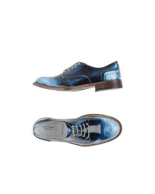 DAVID NAMAN   Мужская Синяя Обувь На Шнурках