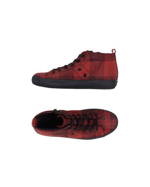Leather Crown   Мужские Красные Высокие Кеды И Кроссовки