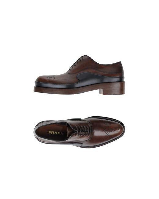 Prada | Мужская Коричневая Обувь На Шнурках