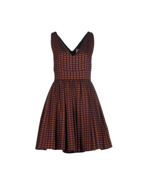 Douuod | Женское Коричневое Короткое Платье