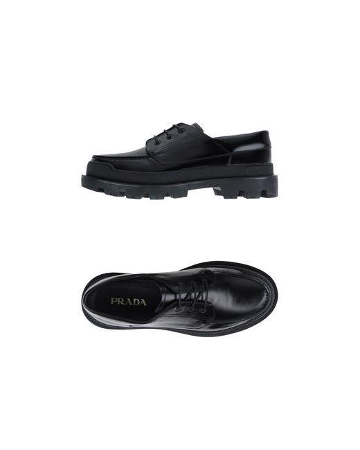 Prada   Мужская Чёрная Обувь На Шнурках