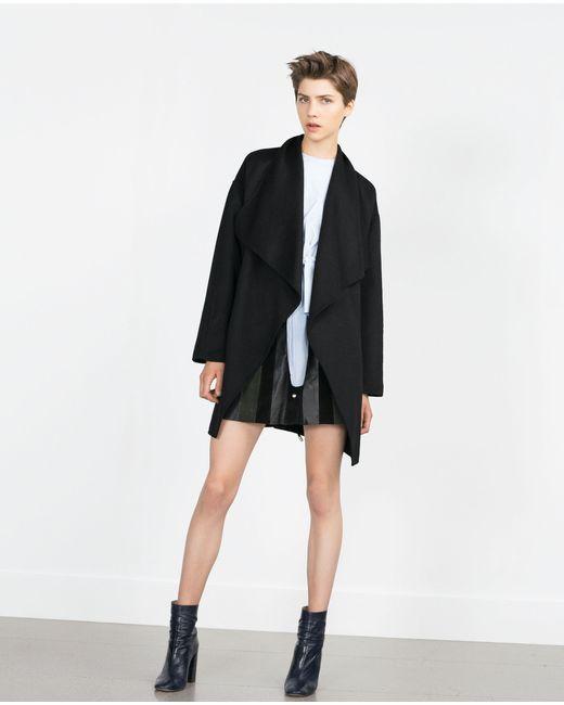 Zara | Женское Чёрное Пальто Ручной Работы