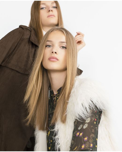 Zara | Женский Цвет Небеленого Полотный Жилет Из Меха