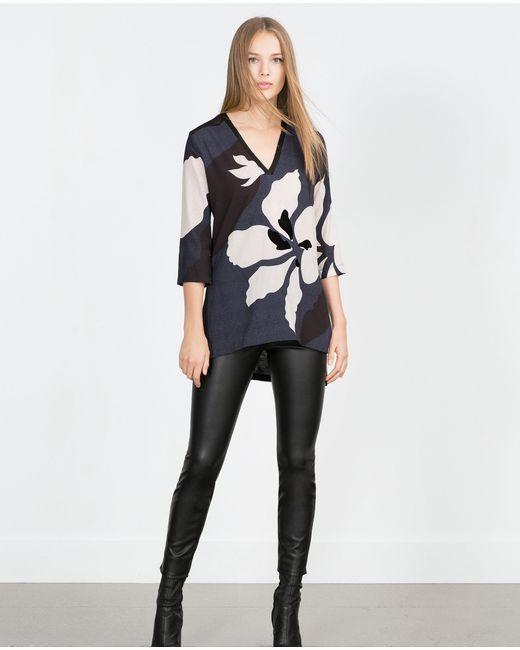 Zara | Женская Синяя Туника С Цветочным Узором