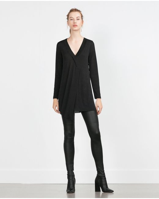 Zara | Женская Чёрная Туника С Разрезом В Центре